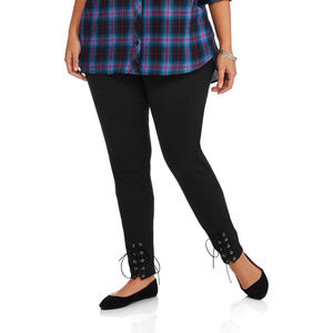 Women's Leggings Black Lace Up Skinny Legs PLUS 1X